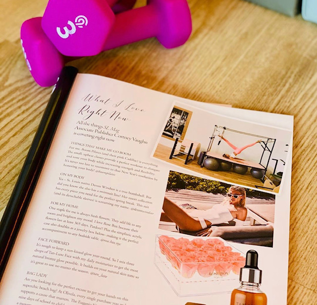 magazine and pink weights